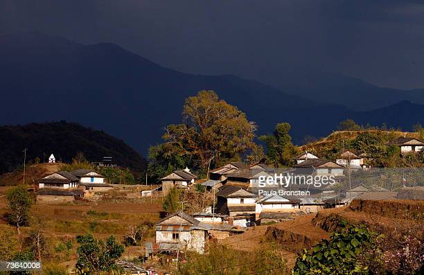 Storm looms over the small mountain village of Dhampus on March 17, 2007 in Nepal. The village is home to many Gurung who are the ethnic majority...