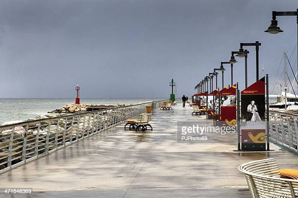 storm morning at wharf in cattolica  (italy) - pjphoto69 stock pictures, royalty-free photos & images
