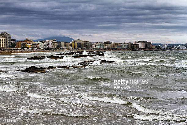 storm morning in cattolica and gabicce mare (italy) - pjphoto69 stock pictures, royalty-free photos & images
