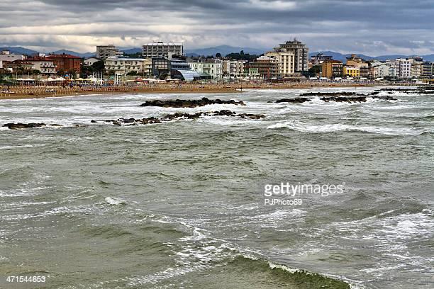 Storm Morgen in Cattolica und Gabicce Mare (Italien)