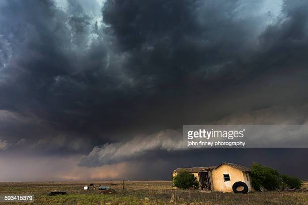 Storm over abandoned house. Texas panhandle. USA