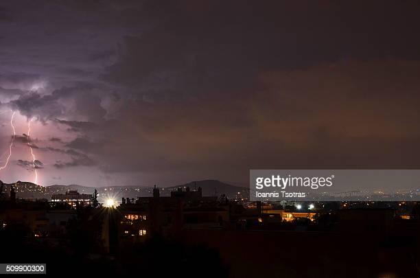 Storm over Athens Greece