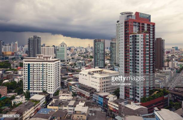 Storm over Bangkok in day ( Thailand , Asia )