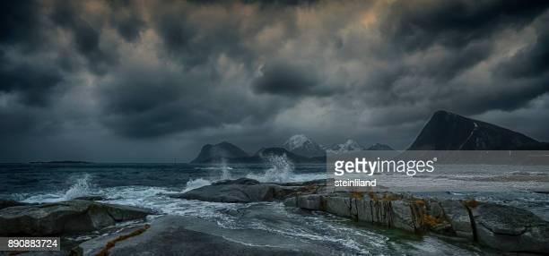 Storm over beach, Flakstad, Lofoten, Nordland, Norway