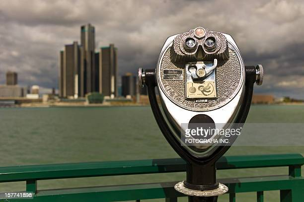 storm over motor city - detroit river stock photos and pictures