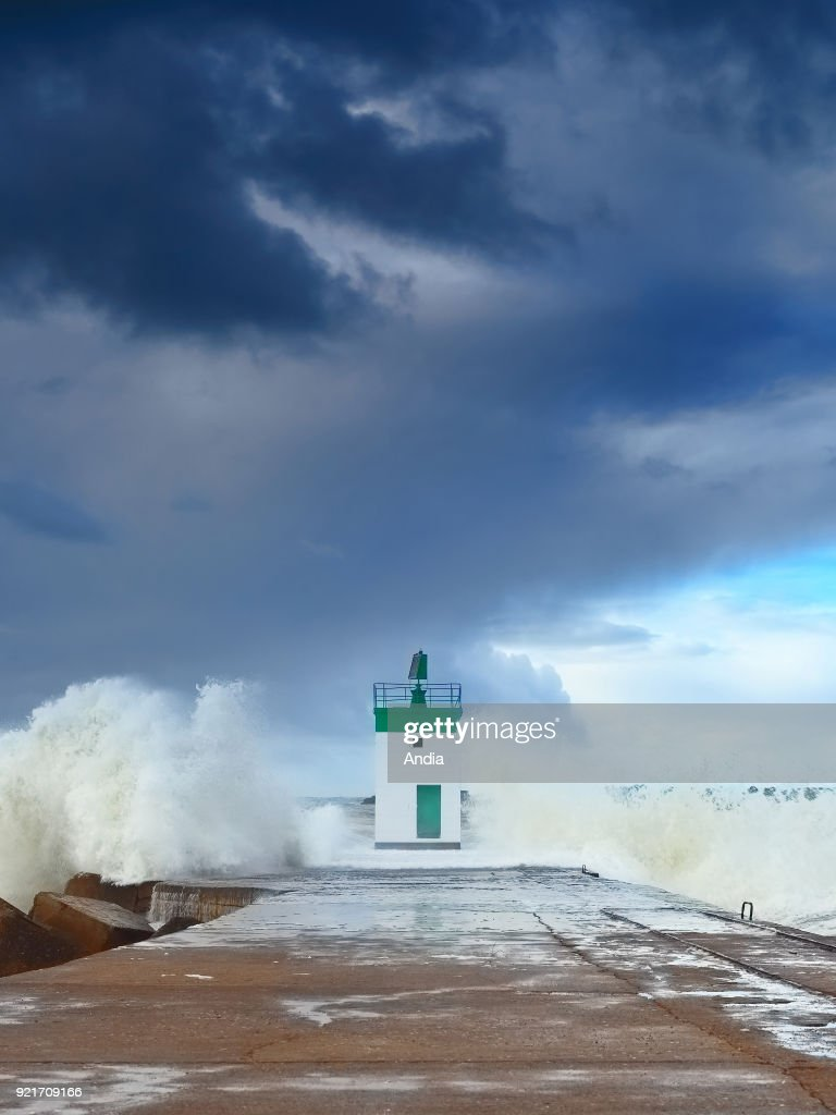 Storm over the Adour Estuary in Anglet (south-western France).