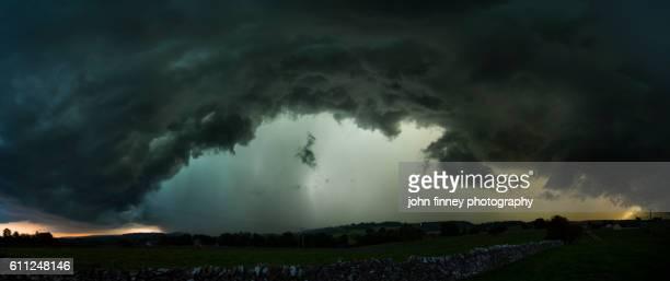 Storm over the Peak District. Shelf cloud over Alsop-en-le-Dale, Derbyshire, English Peak District. UK. Europe.