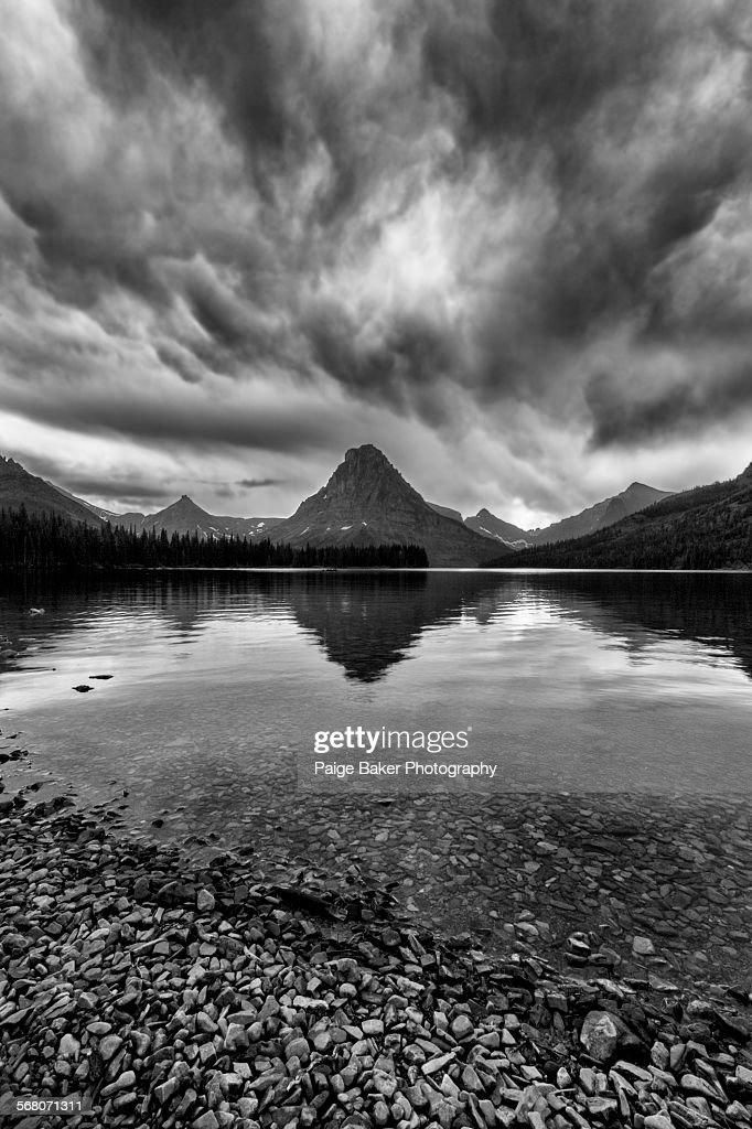 Storm over Two Medicine Lake : Stock Photo