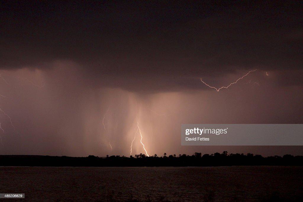 Storm over Zambezi River : Stock Photo