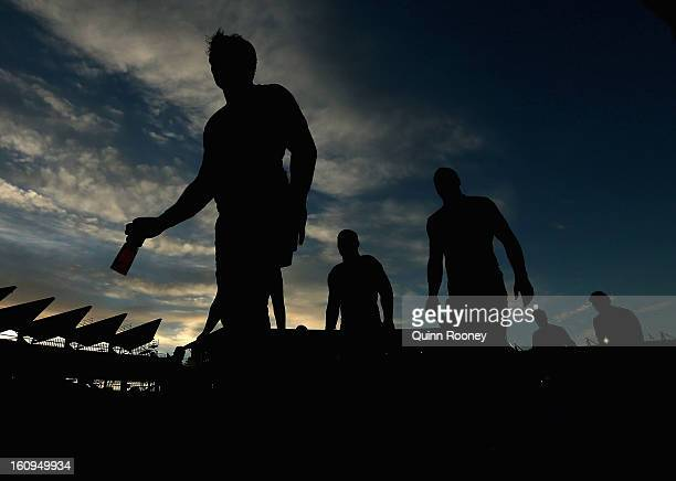 Storm players come off the field after losing the NRL trial match between the Melbourne Storm and the Canberra Raiders at Simonds Stadium on February...