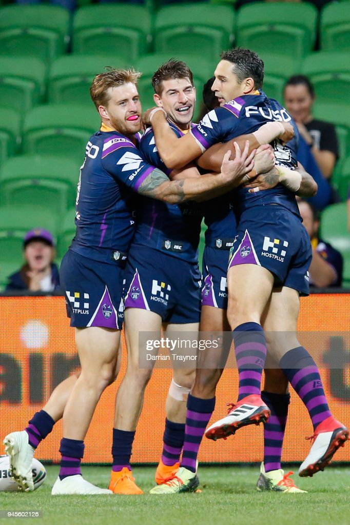 Storm plyers celebrate a Josh Addo-Carr try during the round six NRL match between the Melbourne Storm and the Newcastle Knights at AAMI Park on April 13, 2018 in Melbourne, Australia.