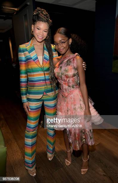 Storm Reid and Marsai Martin attend Nickelodeon's 2018 Kids' Choice Awards at The Forum on March 24 2018 in Inglewood California