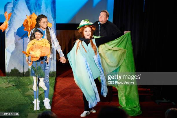 Storm Reid and Reese Witherspoon perform in the sketch Wrinkle In Time 4D with James Corden during 'The Late Late Show with James Corden' Monday...