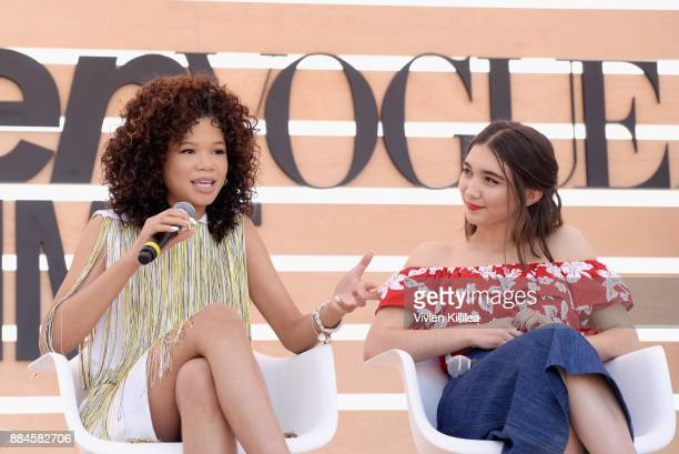 Storm Reid and Rowan Blanchard speak onstage during The Teen Vogue Summit LA Keynote Conversation with A Wrinkle In Time director Ava Duvernay and...