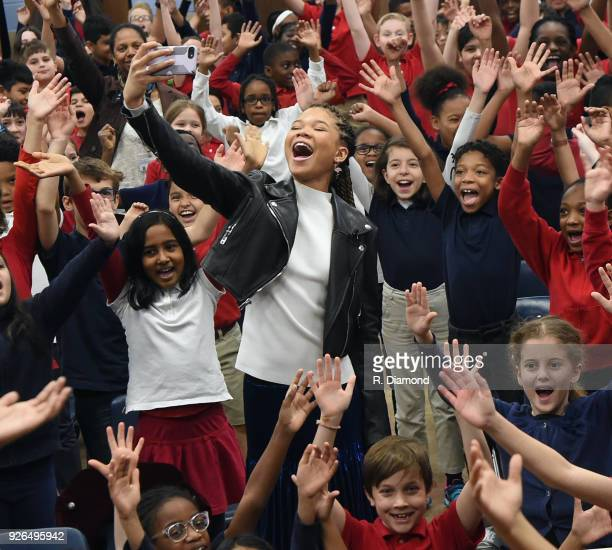 Storm Reid and students do a Selfie during A Wrinkle In Time Star Storm Reid Celebrates 'Read Across America Day' At Chesnut Elementary Her Former...
