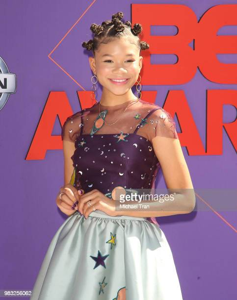 Storm Reid arrives to the 2018 BET Awards held at Microsoft Theater on June 24 2018 in Los Angeles California