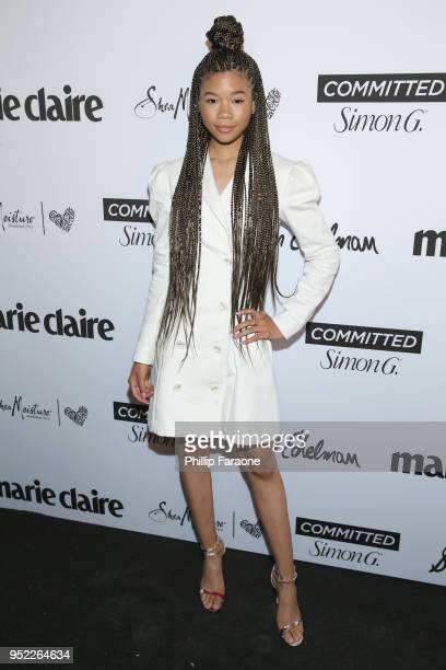 Storm Reid attends Marie Claire Celebrates Fifth Annual 'Fresh Faces' in Hollywood with SheaMoisture Simon G and Sam Edelman at Poppy on April 27...