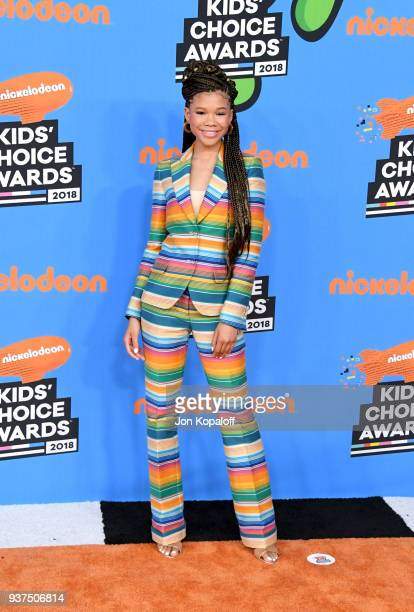 Storm Reid attends Nickelodeon's 2018 Kids' Choice Awards at The Forum on March 24 2018 in Inglewood California