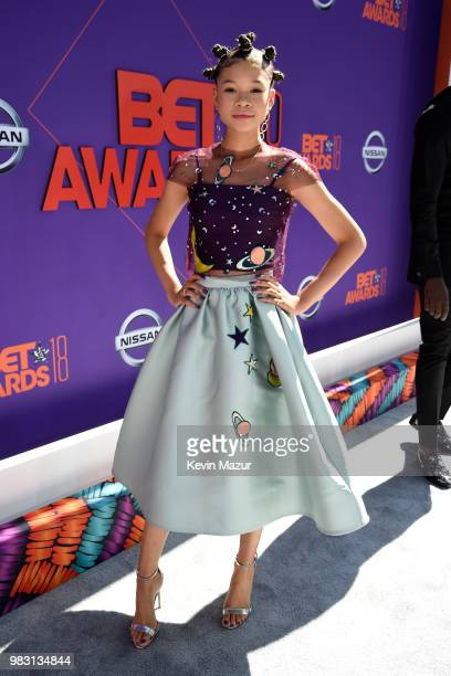 Storm Reid attends the 2018 BET Awards at Microsoft Theater on June 24 2018 in Los Angeles California