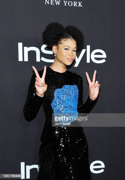 Storm Reid attends the 2018 InStyle Awards with Fiji Water on October 22 2018 in Los Angeles California