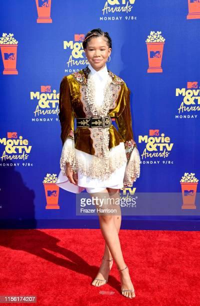 Storm Reid attends the 2019 MTV Movie and TV Awards at Barker Hangar on June 15 2019 in Santa Monica California