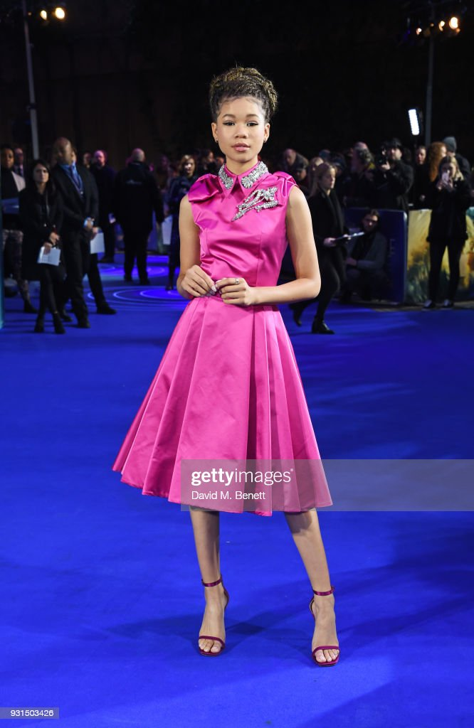 Storm Reid attends the European Premiere of 'A Wrinkle In Time' at the BFI IMAX on March 13, 2018 in London, England.