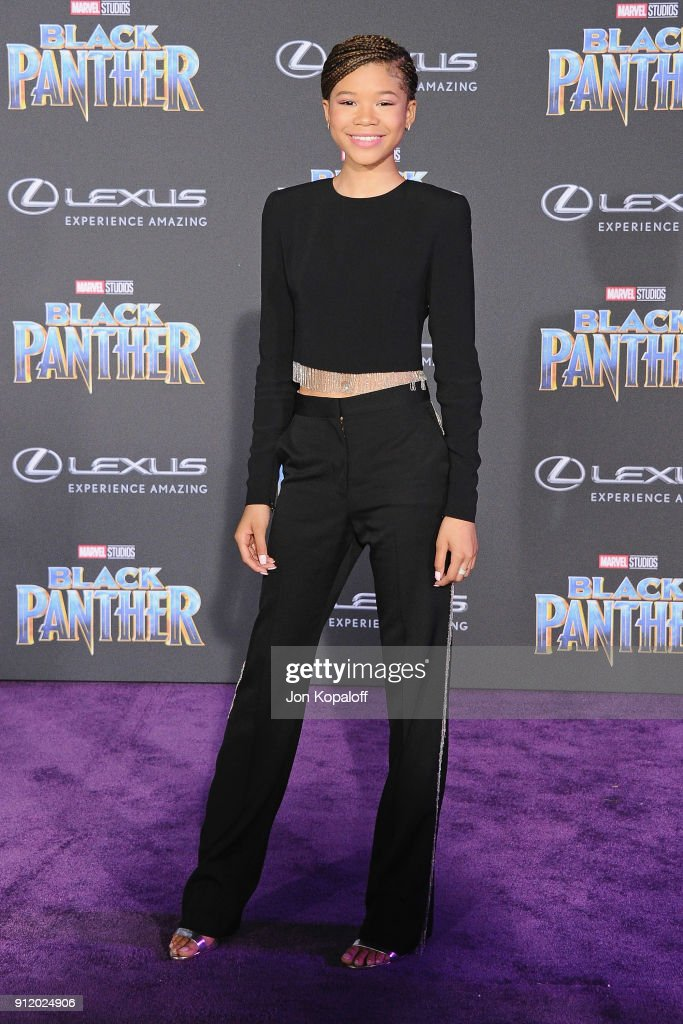 Storm Reid attends the Los Angeles Premiere 'Black Panther' at Dolby Theatre on January 29, 2018 in Hollywood, California.