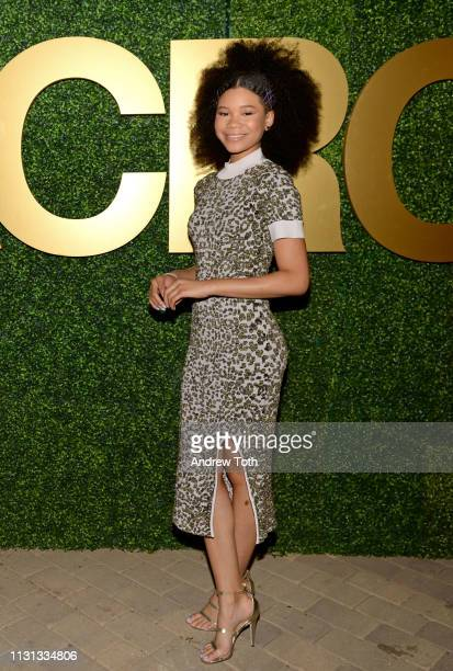 Storm Reid attends the MACRO PreOscar Party 2019 at Casita Hollywood on February 21 2019 in Los Angeles California