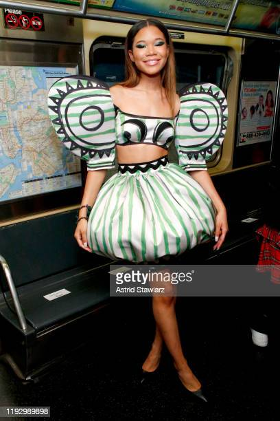 Storm Reid attends the Moschino Prefall 2020 Runway Show front row at New York Transit Museum on December 09 2019 in Brooklyn City