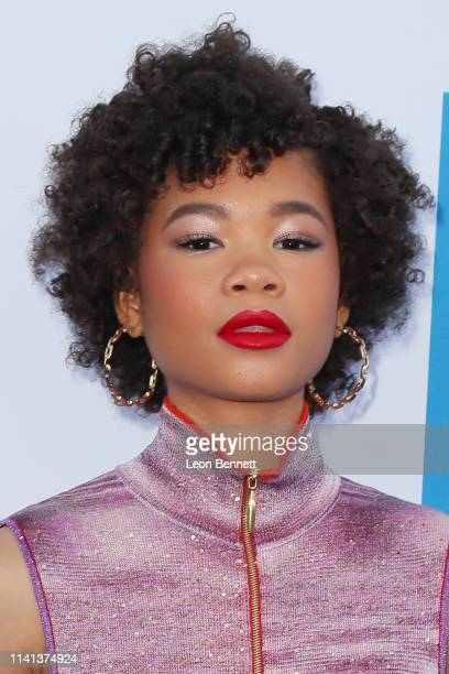 Storm Reid attends The Premiere Of Universal Pictures Little at Regency Village Theatre on April 08 2019 in Westwood California
