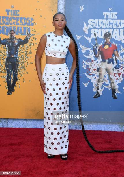 """Storm Reid attends the Warner Bros. Premiere of """"The Suicide Squad"""" at Regency Village Theatre on August 02, 2021 in Los Angeles, California."""