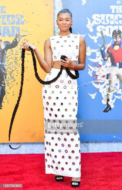 """Storm Reid attends the Warner Bros. Premiere of """"The Suicide Squad"""" at The Landmark Westwood on August 02, 2021 in Los Angeles, California."""