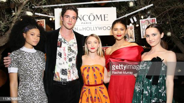 Storm Reid Jacob Elordi Sydney Sweeney Zendaya and Maude Apatow attend Vanity Fair and Lancôme Toast Women In Hollywood on February 21 2019 in West...