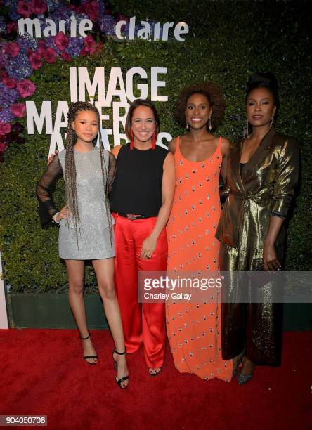 Storm Reid Marie Claire EditorinCheif Anne Fulenwider Issa Rae and Sydelle Noel attend the Marie Claire's Image Makers Awards 2018 on January 11 2018...