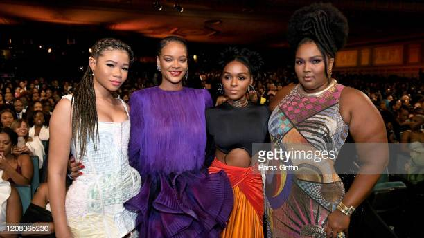 Storm Reid Rihanna Janelle Monáe and Lizzo attend the 51st NAACP Image Awards Presented by BET at Pasadena Civic Auditorium on February 22 2020 in...