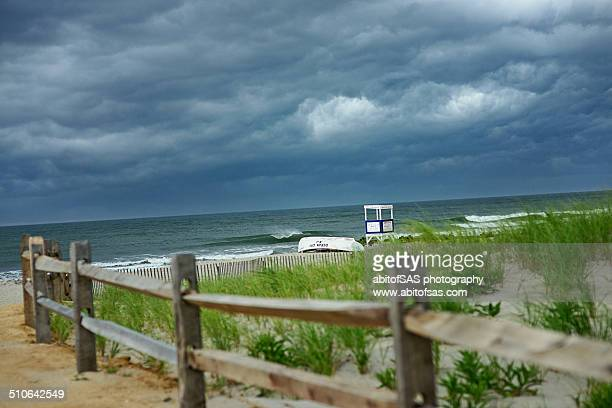 storm rolling in over ocean city - ocean city new jersey stock photos and pictures