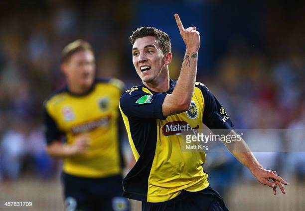 Storm Roux of the Mariners celebrates scoring the first goal during the round six ALeague match between the Central Coast Mariners and Wellington...
