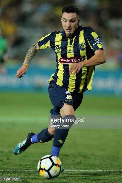 Storm Roux of the Mariners in action during the round 21 ALeague match between the Central Coast Mariners and the Wellington Phoenix at Central Coast...