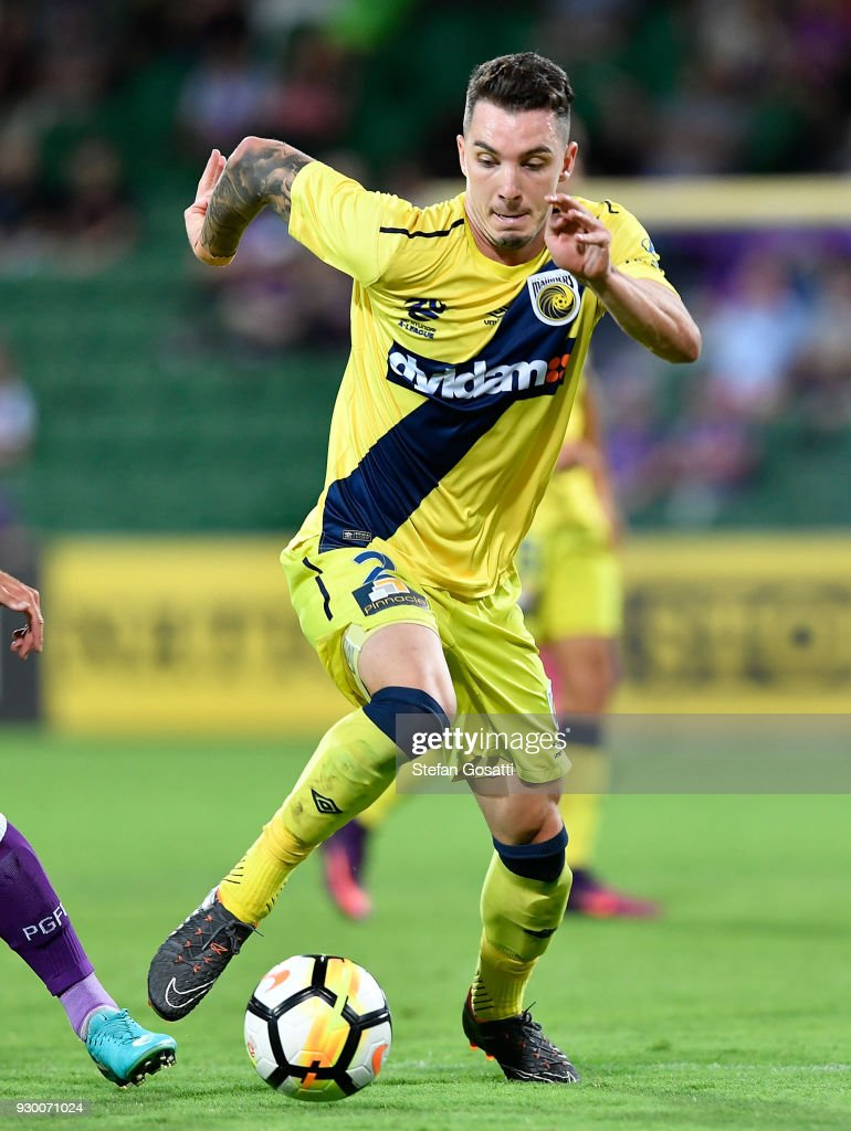 Storm Roux of the Mariners runs the ball during the round 22 A-League match between the Perth Glory and the Central Coast Mariners at nib Stadium on March 10, 2018 in Perth, Australia.
