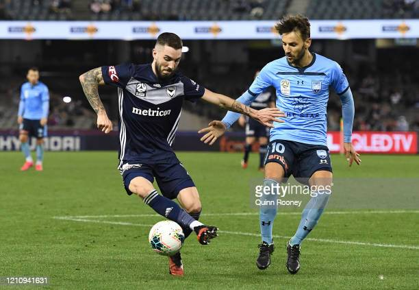 Storm Roux of the Victory controls the ball during the round 22 A-League match between the Melbourne Victory and Sydney FC at Marvel Stadium on March...
