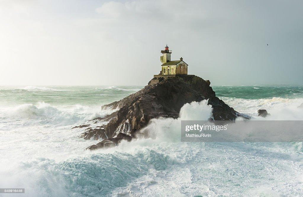 Storm Ruzica - Haunted lighthouse of Tevennec : Stock Photo