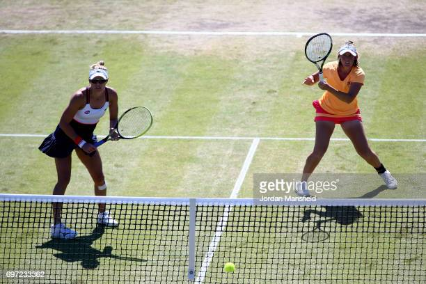 Storm Sanders and Monique Adamczak of Australia in action during their Women's Doubles Final match against Laura Robson and Jocelyn Rae of Great...