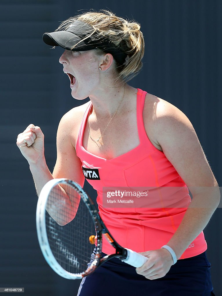 Storm Sanders of Australia celebrates winning a point in her first round match against Shuai Peng of China during day three of the Moorilla Hobart International at Domain Tennis Centre on January 7, 2014 in Hobart, Australia.