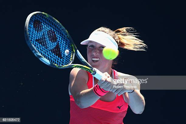 Storm Sanders of Australia plays a backhand in her 2017 Australian Open Qualifying match against Francoise Abanda of Canada at Melbourne Park on...
