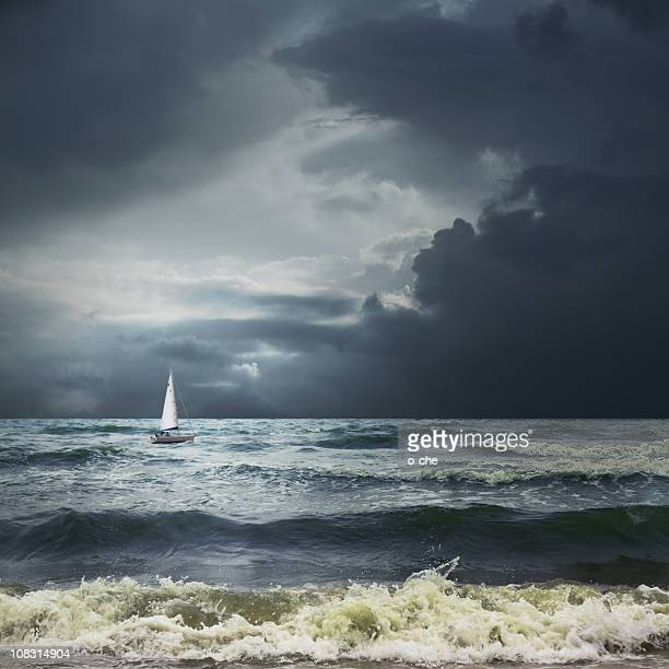 Storm sea landscape with white ship