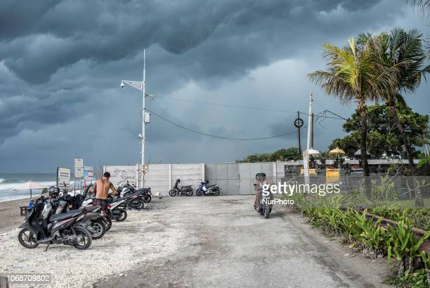Storm sky over the Seminyak Beach in North Kuta Bali Indonesia in November 2018