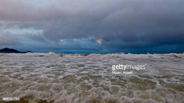 storm surf - kailua beach, hawai'i - kailua beach stock photos and pictures
