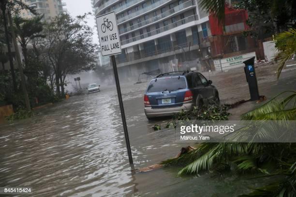 Storm surge floods the Brickell neighborhood of Miami Fla on Sept 10 2017
