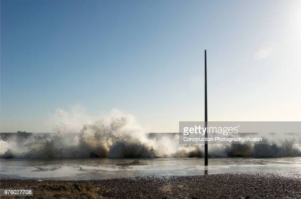 Storm surge sea Felixstowe Suffolk UK