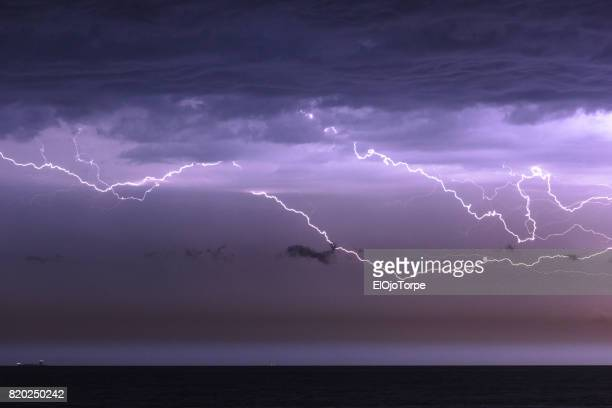 Storm, thunder and lightnings in Rio de La Plata, Montevideo, Uruguay